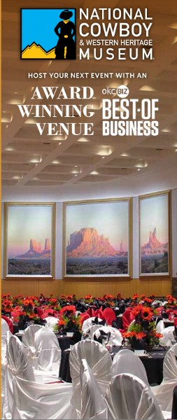 Five monumental 16' x 40' triptychs depicting western landscapes by renowned artist Wilson Hurley adorn the walls of the Sam Noble Special Events Center at the National Cowboy & Western Heritage Museum in Oklahoma City, Oklahoma.